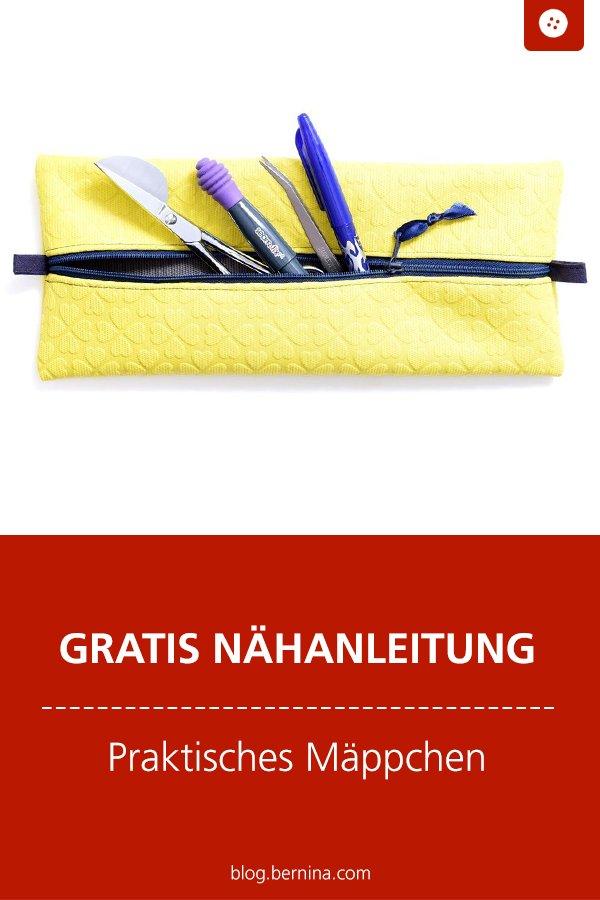Gratis Schnittmuster mit Nähanleitung: Mäppchen für Stifte nähen