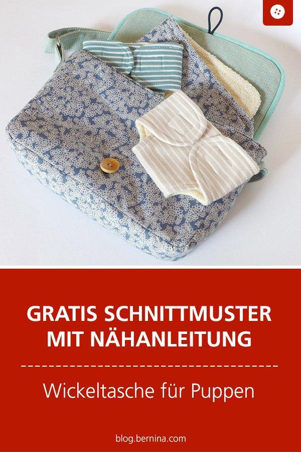 Gratis Schnittmuster mit Nähanleitung: Wickeltasche für Puppen – Windeltasche nähen