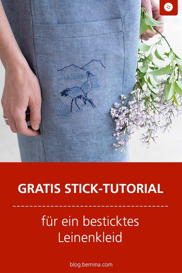Tutorial zum Besticken von Leinen - einen Leinenkleid mit schönem Stickmuster verzieren.