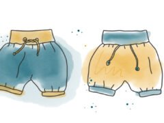 Aquarell Illustration Freebook kurze Pumphose