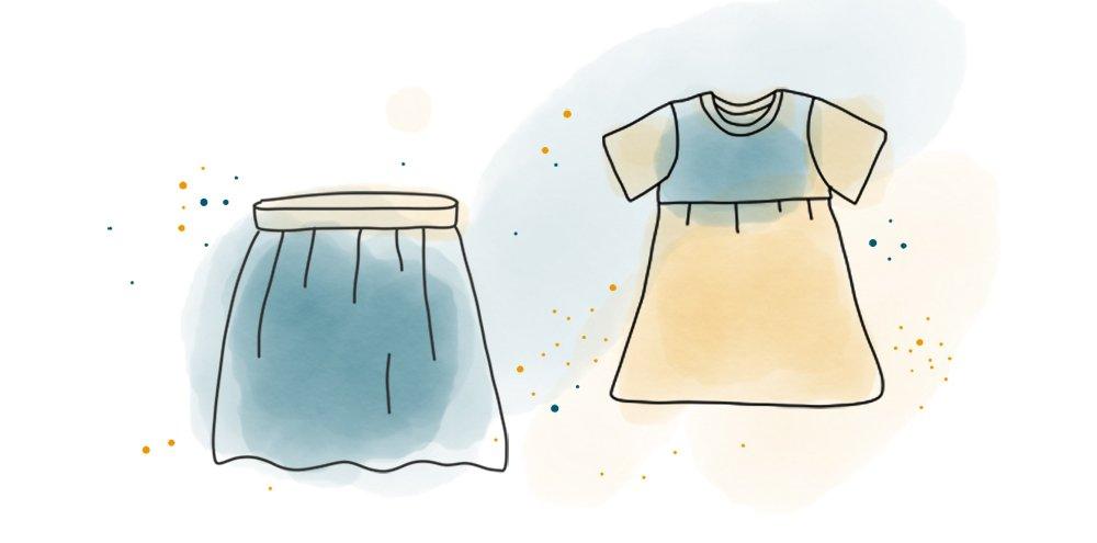 Freebook: Rock mit Gummibund und Kleid mit Raffung