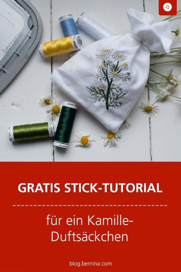 Gratis-Sticktutorial für ein besticktes Kamille Duftsäckchen