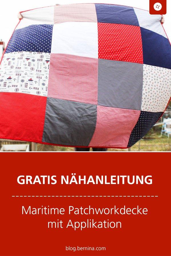 Kostenlose Nähanleitung: Maritime Patchworkdecke mit Applikation