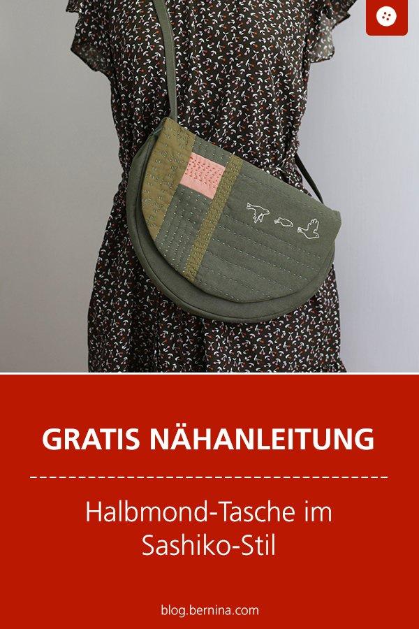 Kostenlose Nähanleitung: Halbmondtasche im Sashiko-Stil