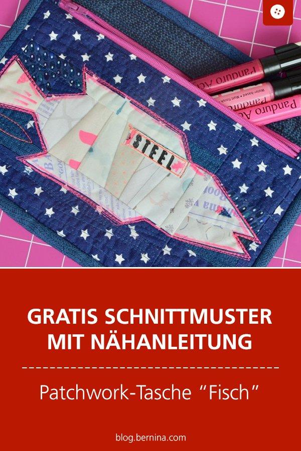 Gratis Schnittmuster mit Nähanleitung (Freebook): Patchwork-Tasche mit Fischmotiv nähen