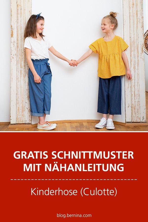 Gratis Schnittmuster mit Nähanleitung (Freebook): Kinderhose (Culotte) nähen