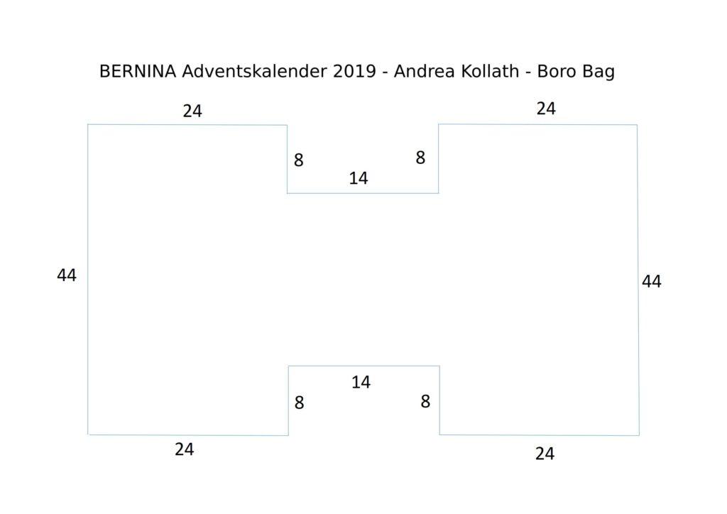 BERNINA Advent Calendar Boro Patchwork Bag - Cutting Plan