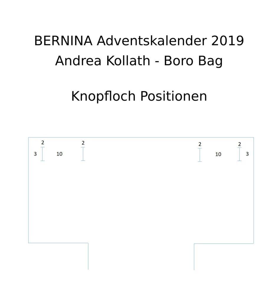 BERNINA Advent Calendar Boro Patchwork Bag - Buttonhole Position