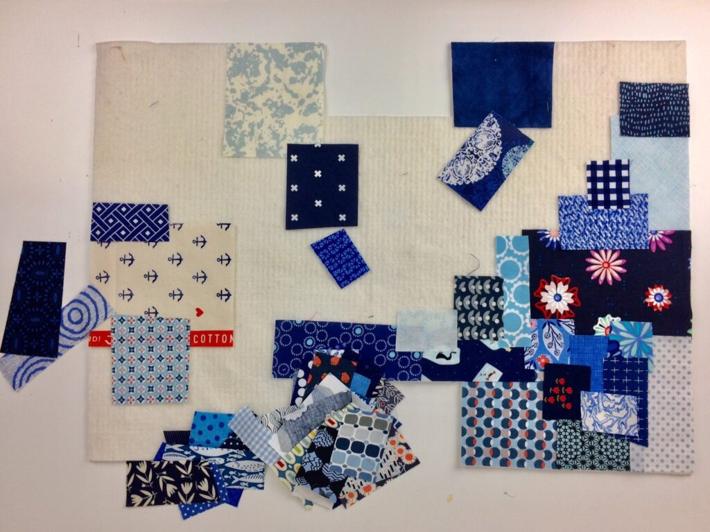 BERNINA Advent Calendar Sustainability Boro Patchwork Bag - Laying Out the Fabric Remnants