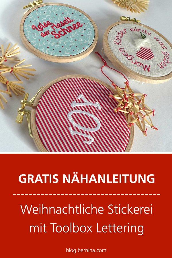 Weihnachtliche Stickerei mit Toolbox Lettering