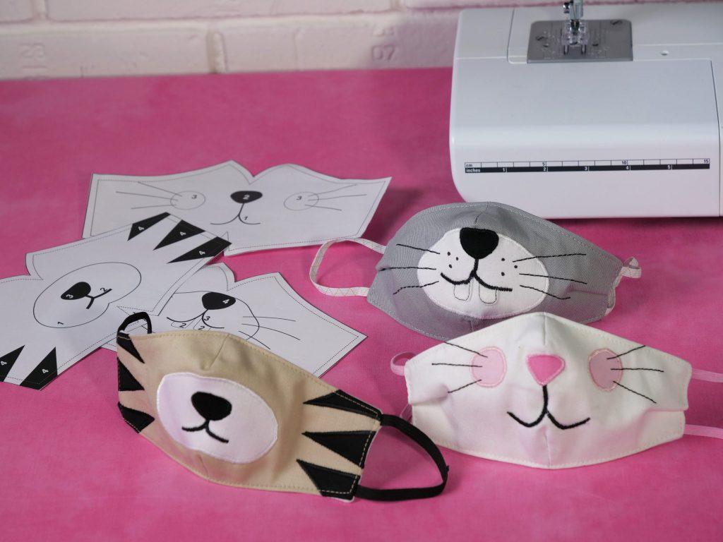 Maske nähen für Kinder – die fertigen Kindermasken mit Tiergesichtern