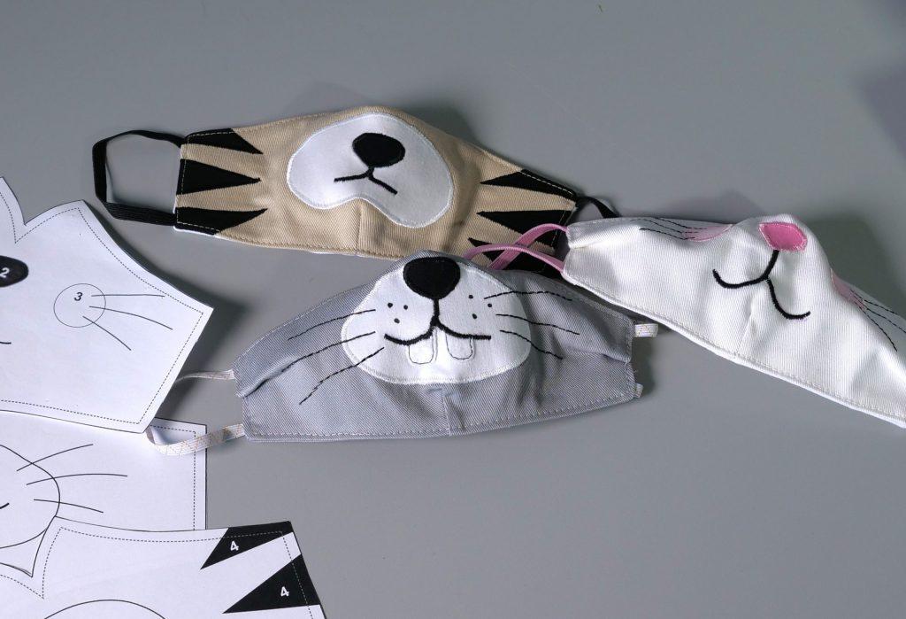 Maske nähen, Kindermaske, Behelfsmaske für Kinder mit Tier-Applikationen