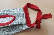 Behelfsmaske nähen mit der Overlock – lange Bänder