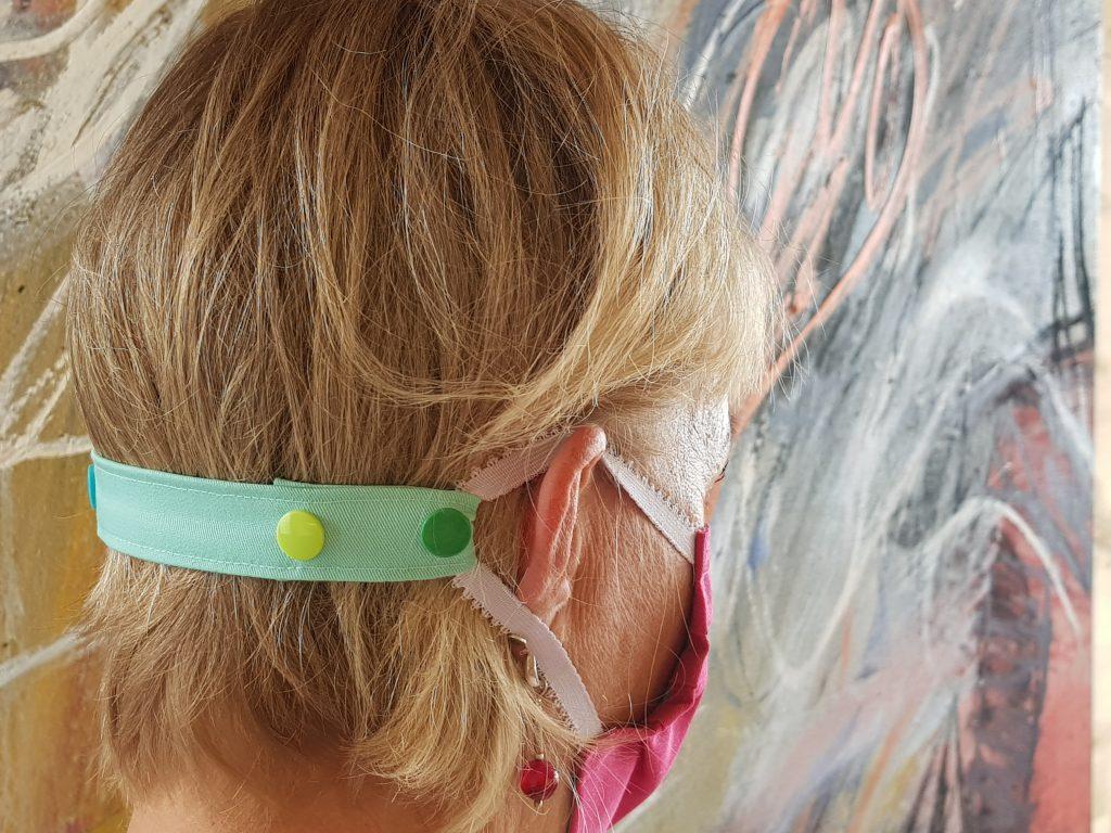 Maske nähen - verstellbares Maskenband mit Druckknöpfen