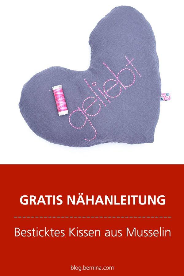 Kostenlose Nähanleitung: Besticktes Herz-Kissen aus Musselin