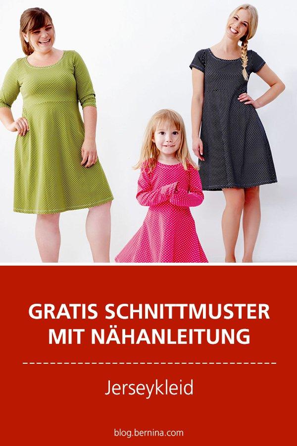 Gratis-Schnittmuster & Nähanleitung: Jerseykleid Gr. XXS - 3XL