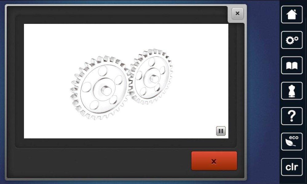 Maschine blockiert - Zahnräder auf Bildschirm