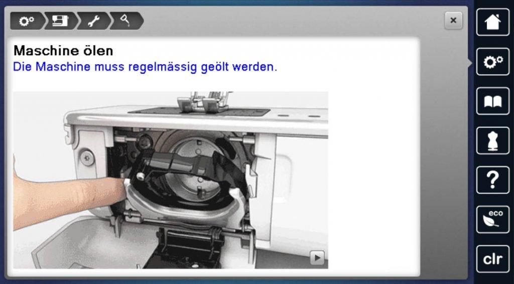 Nähmaschine ölen - Anleitungsvideo auf dem Nähmaschinenscreen