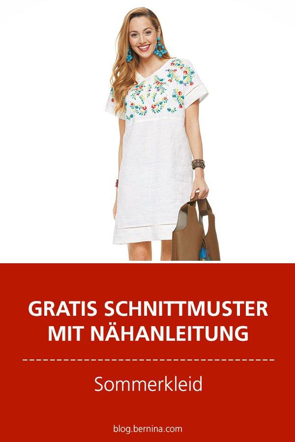 Gratis-Schnittmuster & Nähanleitung: Sommerkleid mit Stickerei