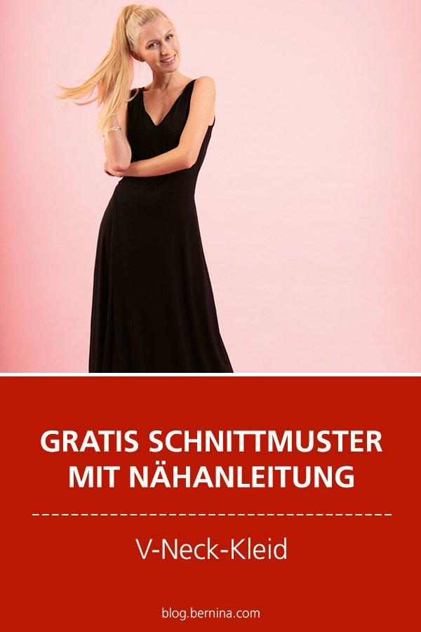 Gratis-Schnittmuster & Nähanleitung: V-Neck-Kleid