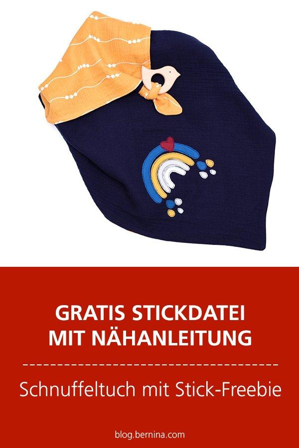 Gratis-Stickdatei & Nähanleitung: Schnuffeltuch mit Stick-Freebie