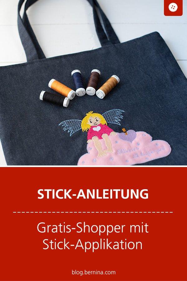 """Mit der Stick-Applikation """"Schutzengel"""" einen Gratis-Shopper besticken."""