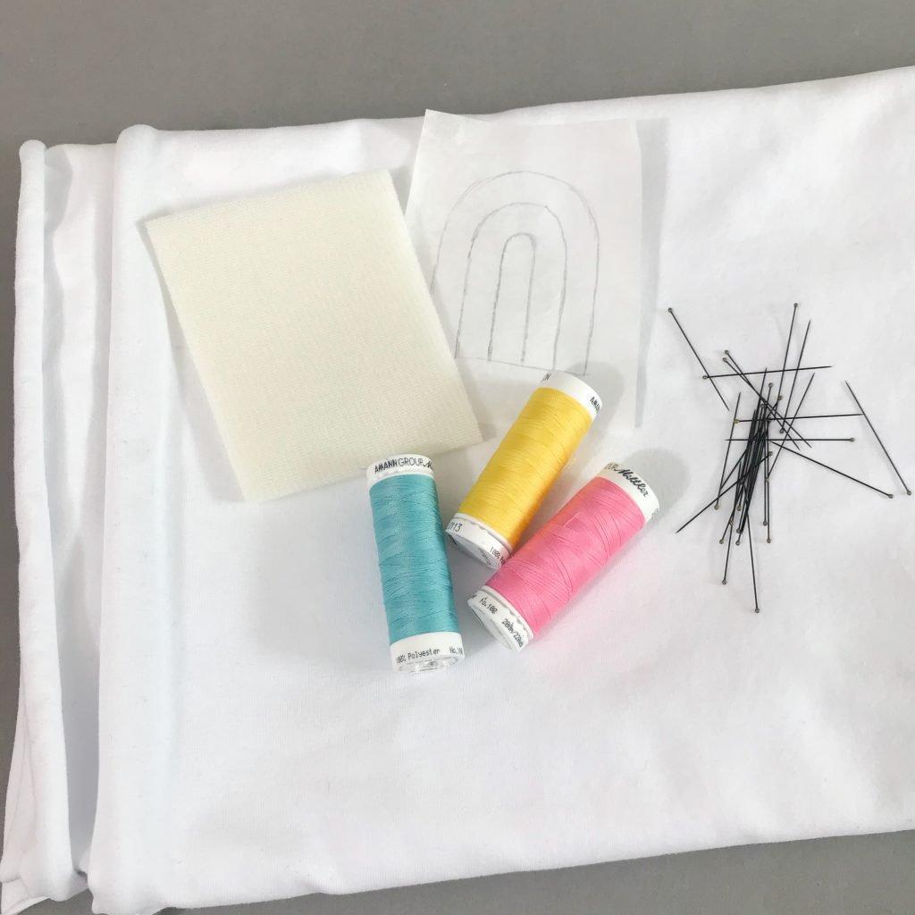 Regenbogenapplikation nähen in 3D - das Material