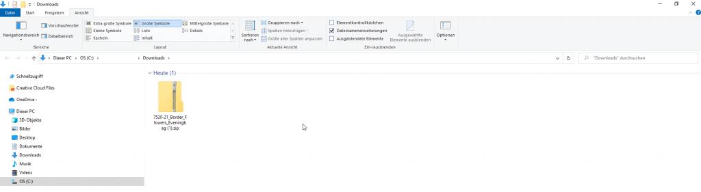 Zip-Datei heruntergeladen