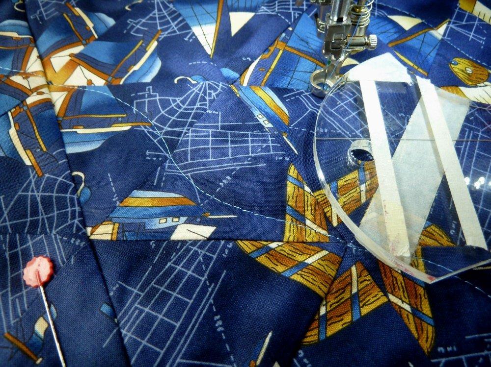 Kaleidoskopquilt mit dem Rulerfuß quilten