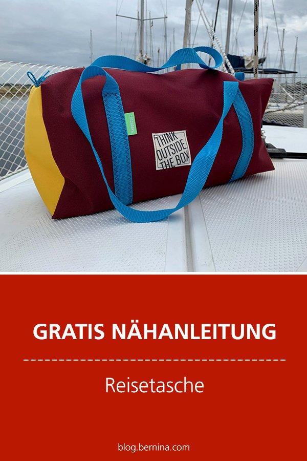 Einfache Reisetasche aus Segeltuch nähen mit Anleitung