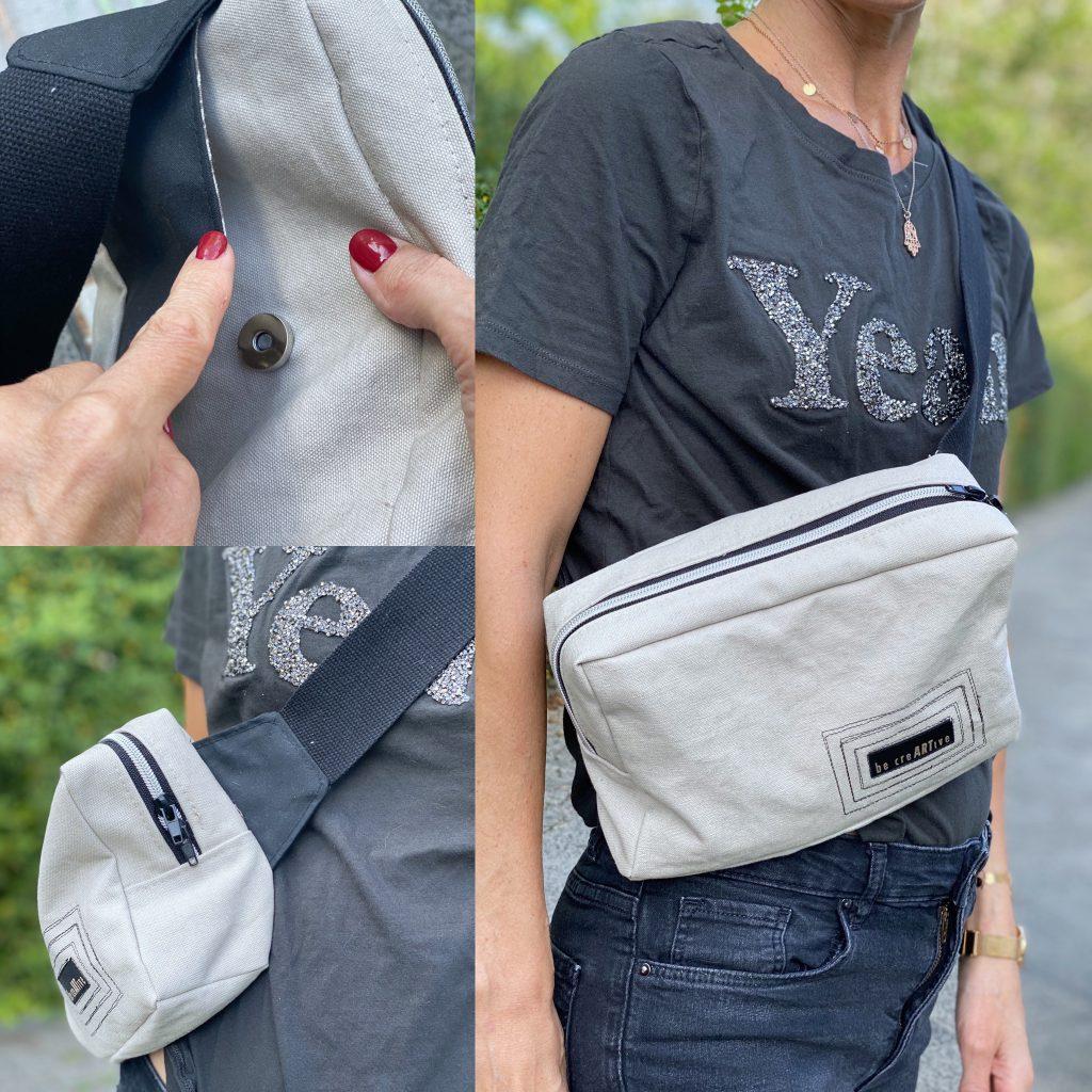 Tasche nähen – die Crossover-Bag in grau