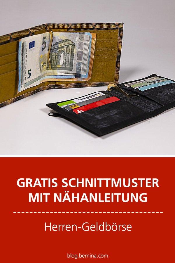 Gratis-Schnittmuster & Nähanleitung: Herren-Geldbörse aus Kork