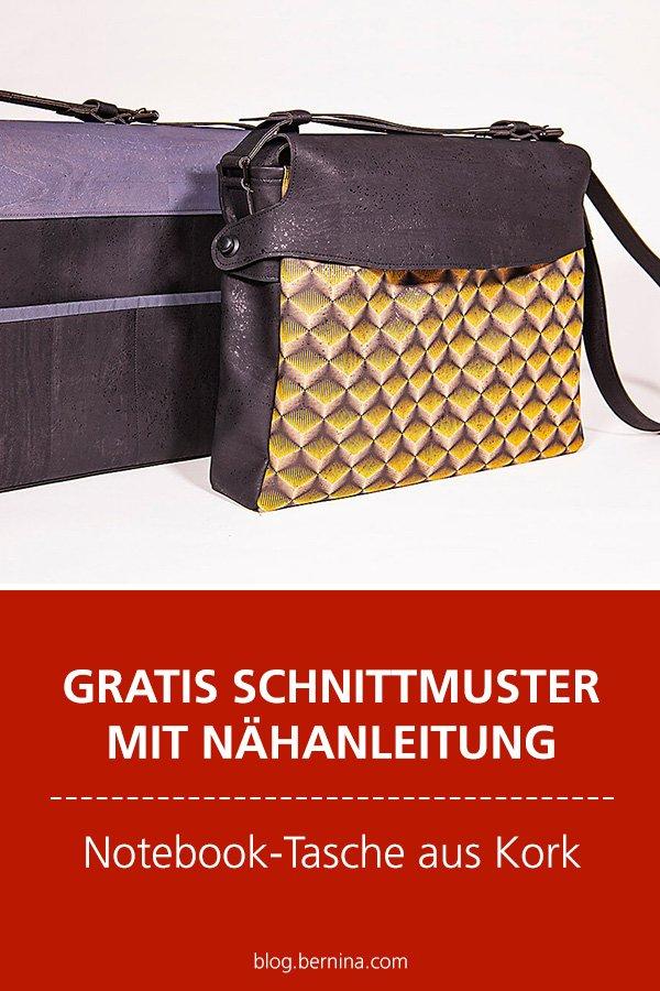 Gratis-Schnittmuster & Nähanleitung: Office/Notebooktasche aus Kork für den Mann
