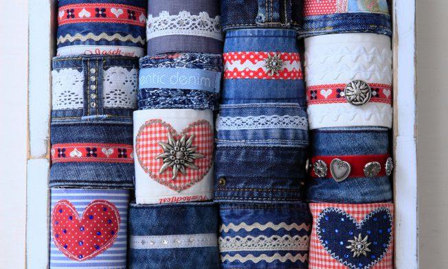 Jeansarmbänder verschiedene Sorten