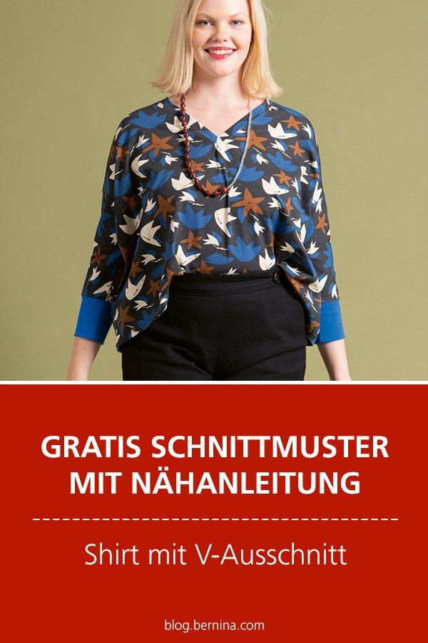 Gratis-Schnittmuster & Nähanleitung: Shirt mit V-Ausschnitt