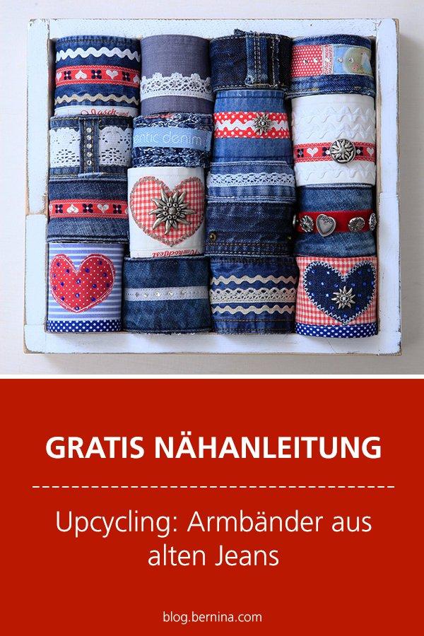 Kostenlose Nähanleitung: Upcycling Armbänder aus Jeans