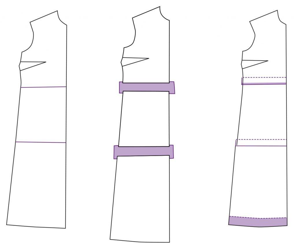 Schnittmuster anpassen bei einem Kleid mit Brustabnäher