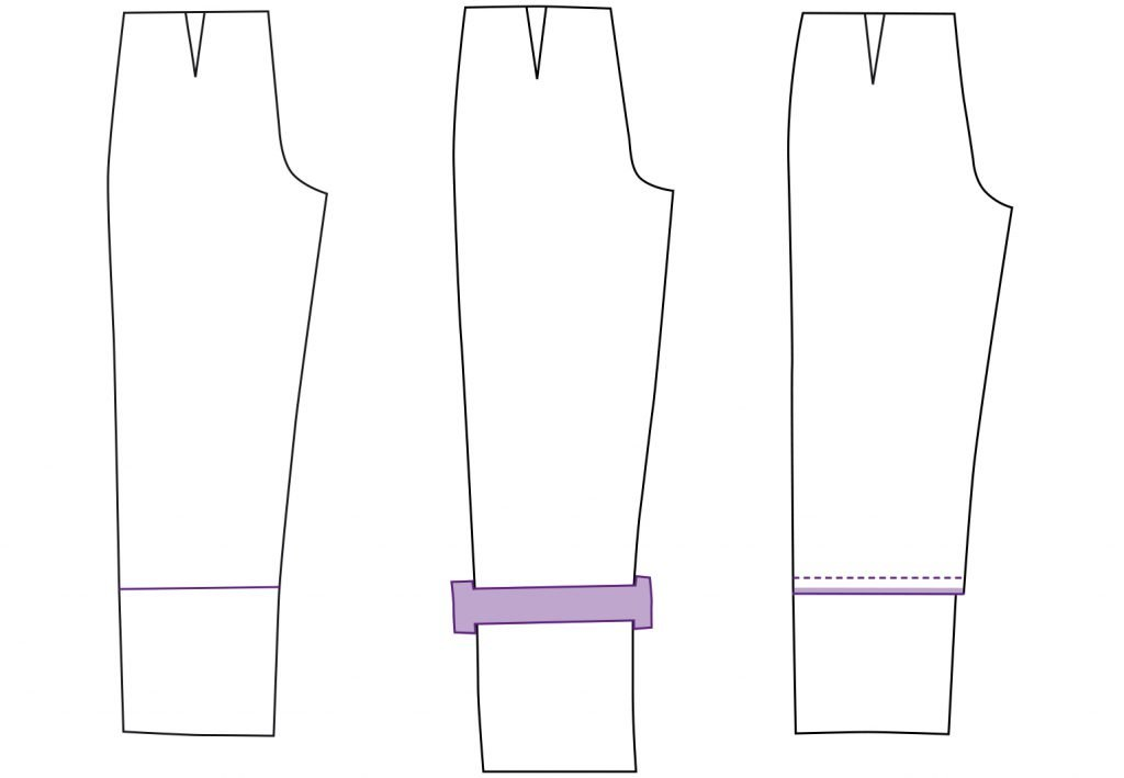 Schnittmuster Hose verlängern oder verkürzen