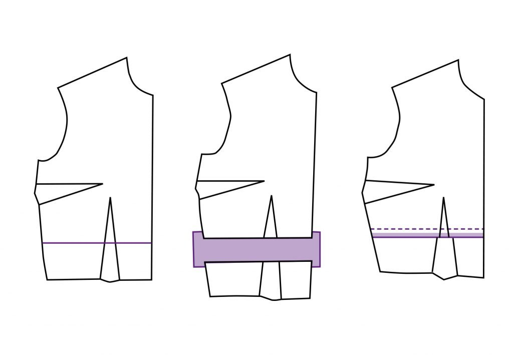 Schnittmuster Oberteil verlängern oder verkürzen