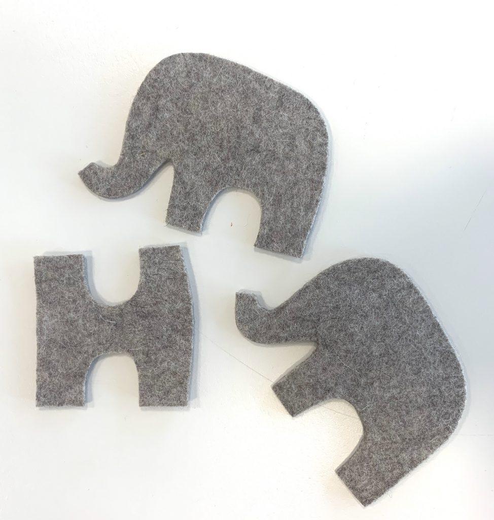 Vilten olifantjes onderdelen