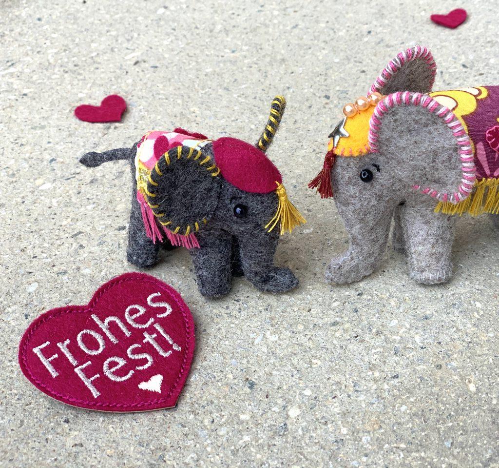 Vilten olifantjes als symbolisch cadeau
