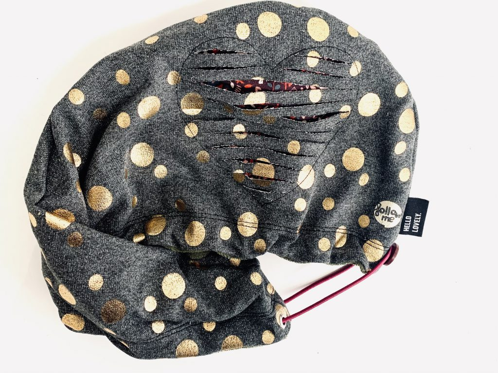 Sewing a hair turban with a heart negative appliqué
