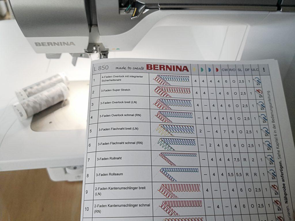 Stichtabelle Bernina L850