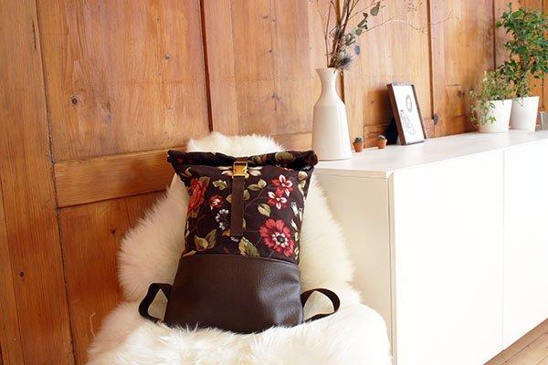 Rolltop Rucksack nähen aus Canvas und Kunstleder