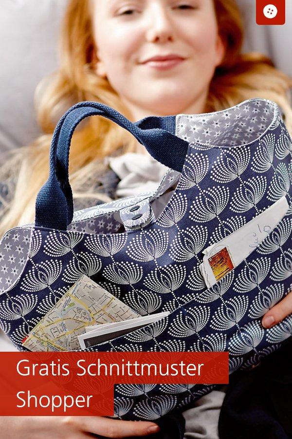 Gratis-Schnittmuster & Nähanleitung: Shopper mit Seitentaschen