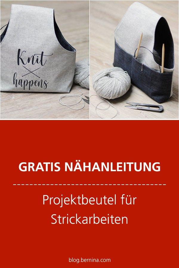 Gratis-Schnittmuster & Nähanleitung: Projektbeutel für Strickarbeiten