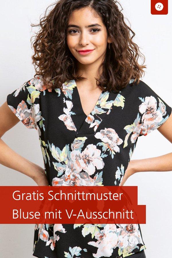 Gratis-Schnittmuster & Nähanleitung: Bluse mit V-Ausschnitt