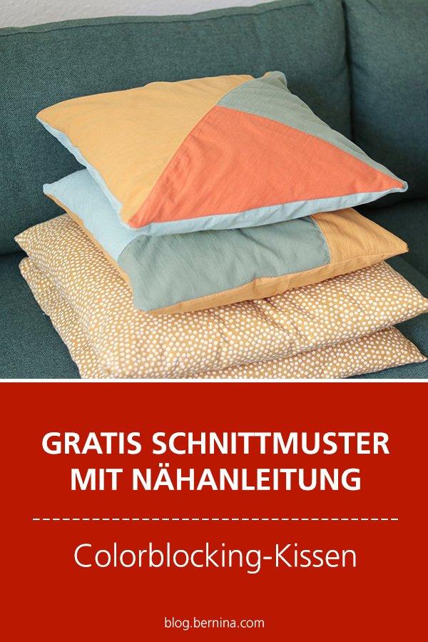 Gratis-Schnittmuster & Nähanleitung: Kissen im Colorblocking-Look