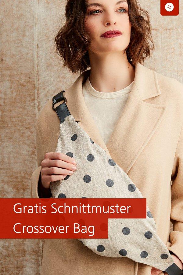 """Gratis-Schnittmuster & Nähanleitung: Crossover-Bag """"Jana"""""""