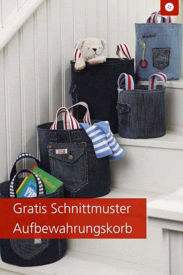 Gratis-Schnittmuster & Nähanleitung: Aufbewahrungskorb